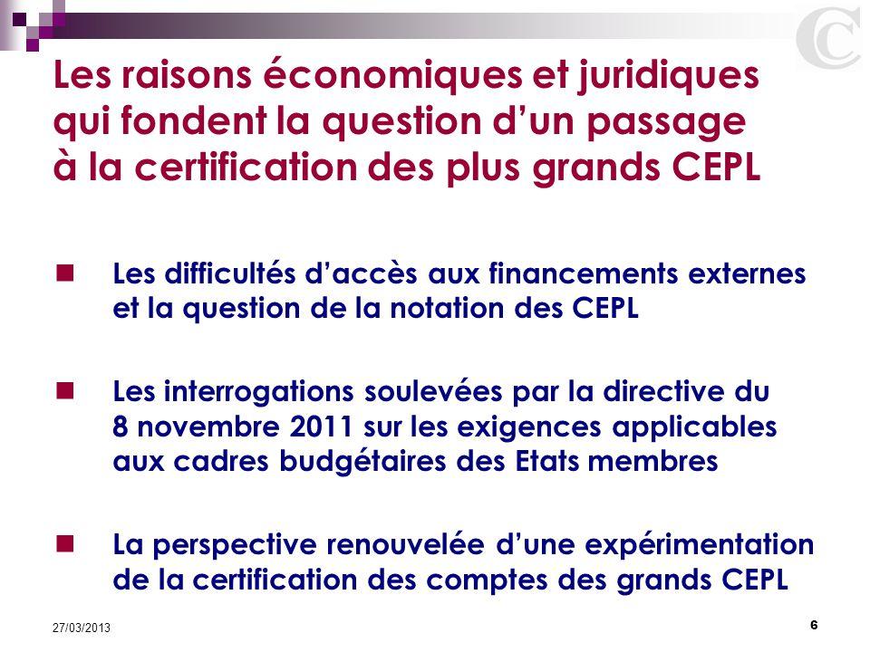 6 27/03/2013 Les raisons économiques et juridiques qui fondent la question d'un passage à la certification des plus grands CEPL Les difficultés d'accè