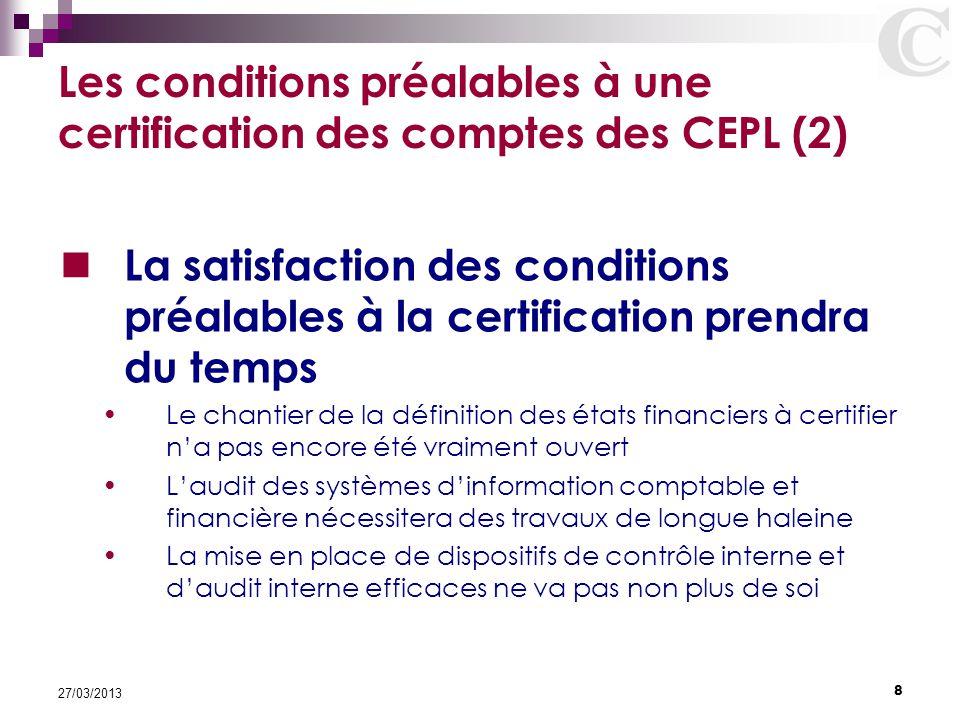 8 27/03/2013 Les conditions préalables à une certification des comptes des CEPL (2) La satisfaction des conditions préalables à la certification prend