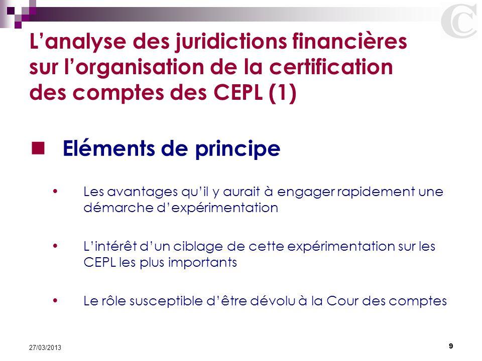 9 27/03/2013 L'analyse des juridictions financières sur l'organisation de la certification des comptes des CEPL (1) Eléments de principe Les avantages