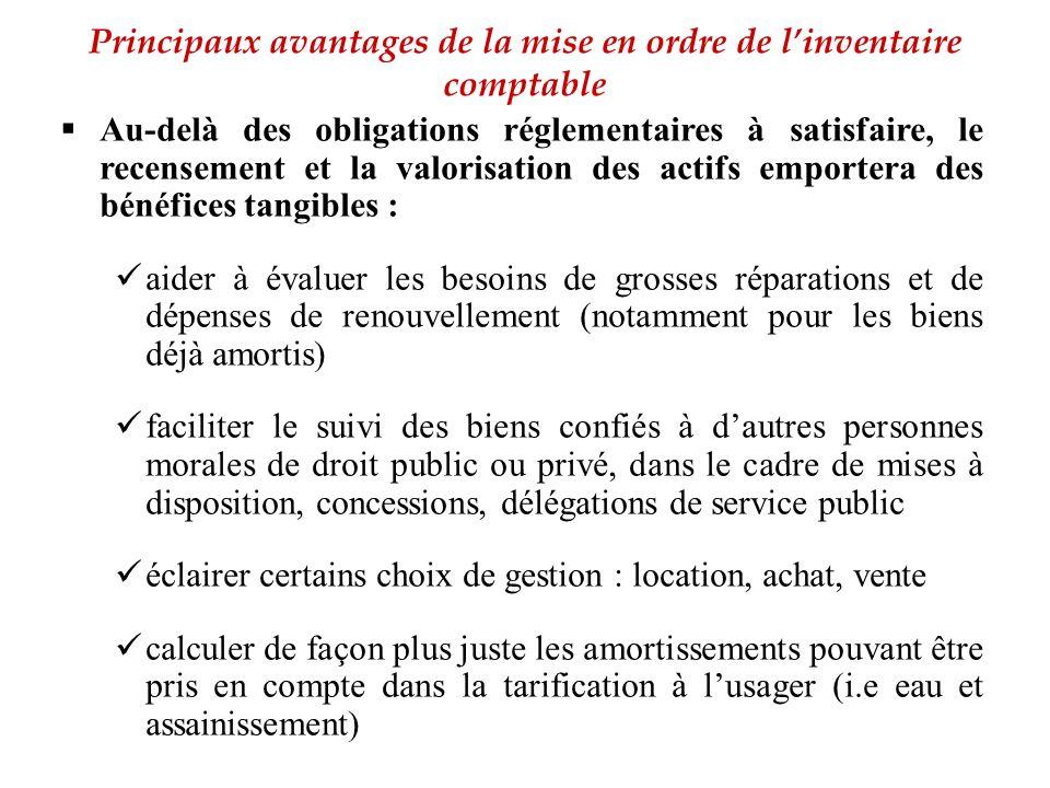Principaux avantages de la mise en ordre de l'inventaire comptable  Au-delà des obligations réglementaires à satisfaire, le recensement et la valoris