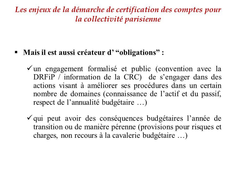 """ Mais il est aussi créateur d' """"obligations"""" : un engagement formalisé et public (convention avec la DRFiP / information de la CRC) de s'engager dans"""