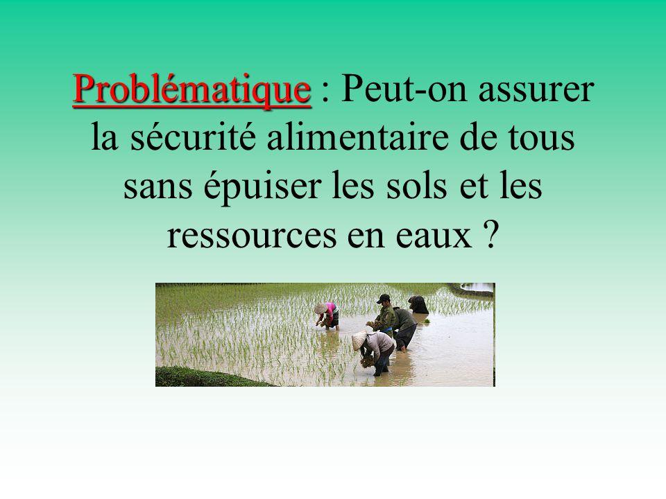 Problématique Problématique : Peut-on assurer la sécurité alimentaire de tous sans épuiser les sols et les ressources en eaux ?