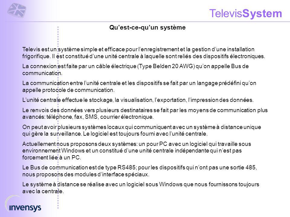 TelevisSystem Qu'est-ce-qu'un système Televis est un système simple et efficace pour l'enregistrement et la gestion d'une installation frigorifique. I