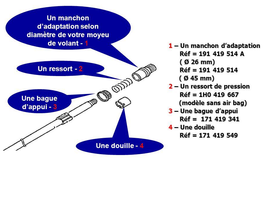 1 – Un manchon d'adaptation Réf = 191 419 514 A Réf = 191 419 514 A ( Ø 26 mm) ( Ø 26 mm) Réf = 191 419 514 Réf = 191 419 514 ( Ø 45 mm) 2 – Un ressor