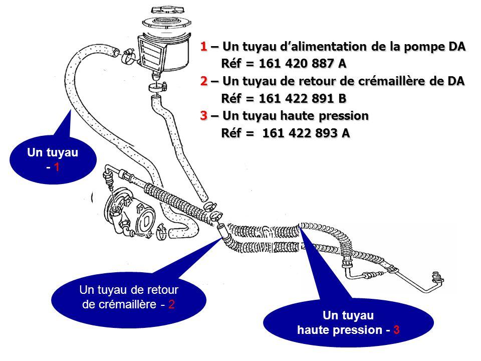 1 – Un tuyau d'alimentation de la pompe DA Réf = 161 420 887 A Réf = 161 420 887 A 2 – Un tuyau de retour de crémaillère de DA Réf = 161 422 891 B Réf