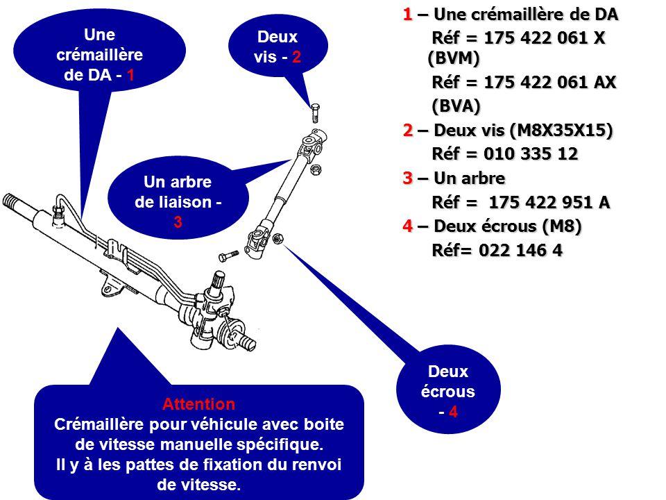 1 – Un palier sélection vitesse (BVM) Réf = 171 711 083 B Réf = 171 711 083 B 2 – Un levier sélecteur vitesse (BVM4*) vitesse (BVM4*) Réf = 171 711 177 C Réf = 171 711 177 C *BVM4 = pour boite de vitesse 4 vitesses Un palier de fixation de la sélection de vitesse - 1 Un levier de sélecteur - 2