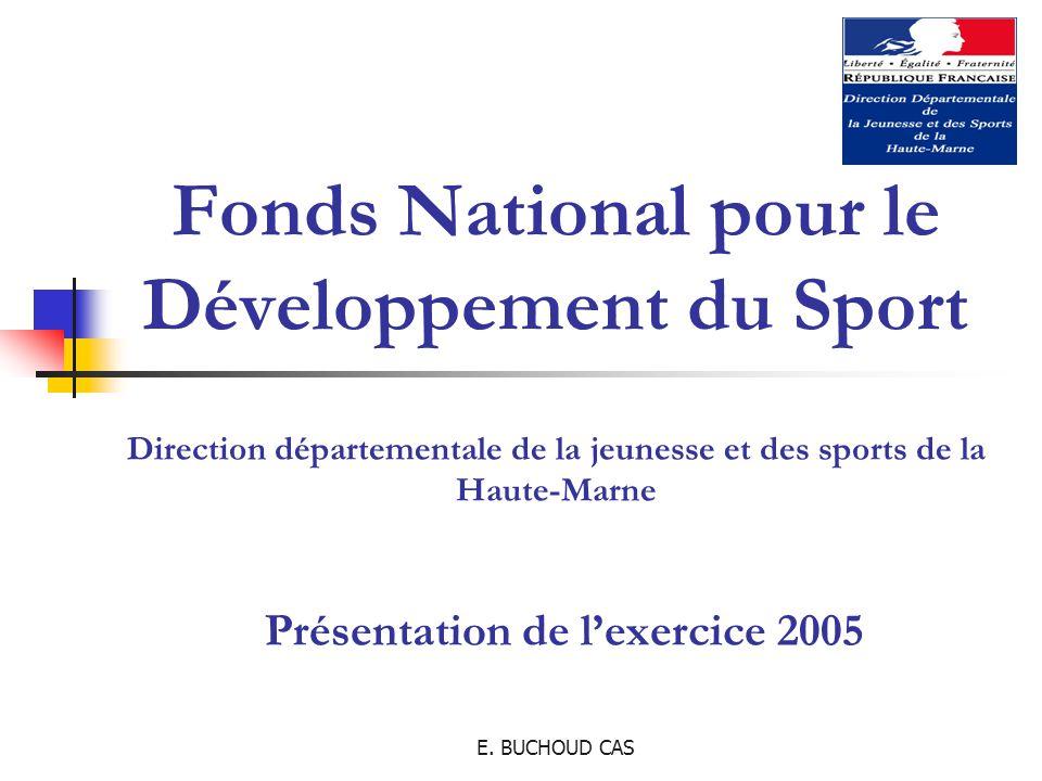 E. BUCHOUD CAS Fonds National pour le Développement du Sport Direction départementale de la jeunesse et des sports de la Haute-Marne Présentation de l
