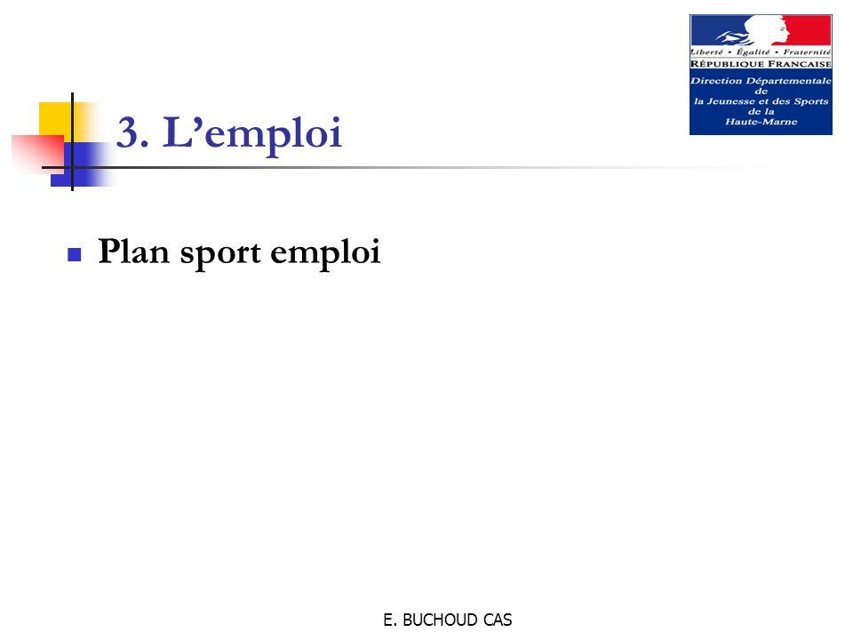 E. BUCHOUD CAS 3. L'emploi Plan sport emploi