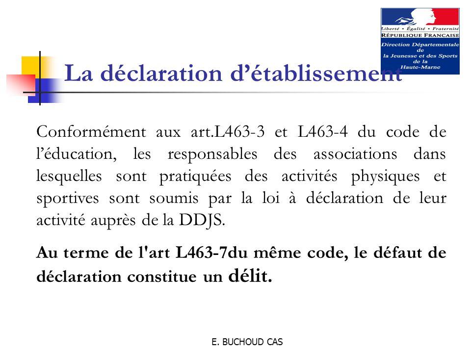 E. BUCHOUD CAS La déclaration d'établissement Conformément aux art.L463-3 et L463-4 du code de l'éducation, les responsables des associations dans les