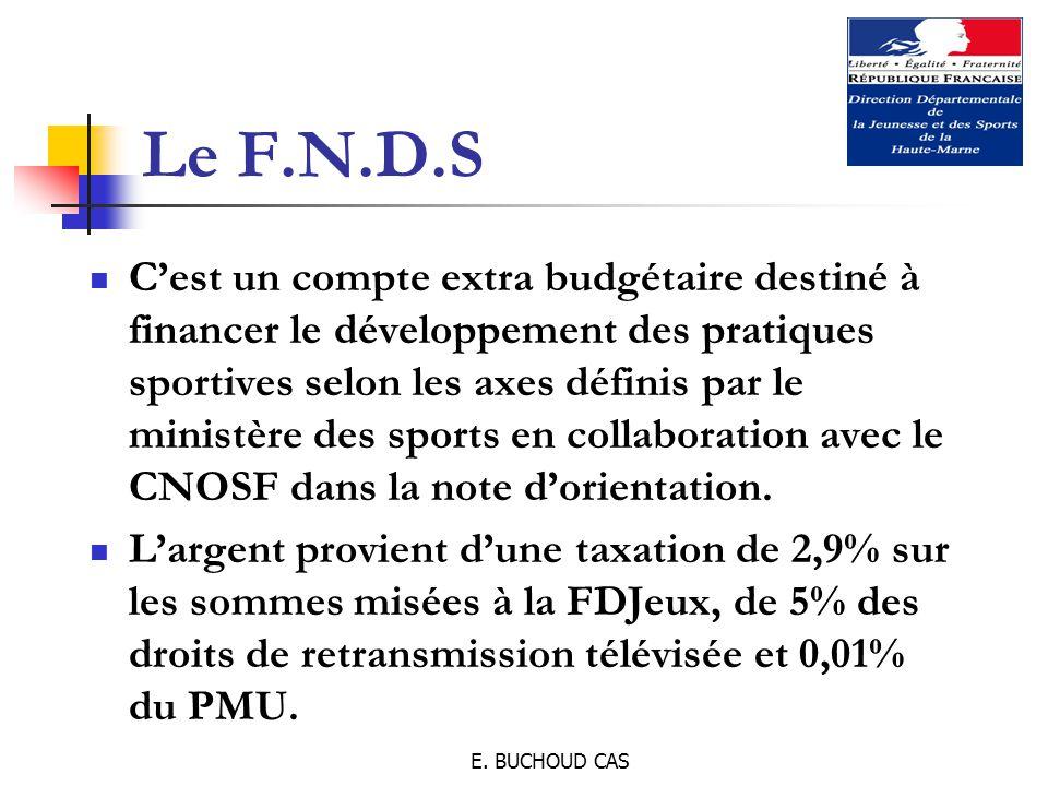 E. BUCHOUD CAS Le F.N.D.S C'est un compte extra budgétaire destiné à financer le développement des pratiques sportives selon les axes définis par le m