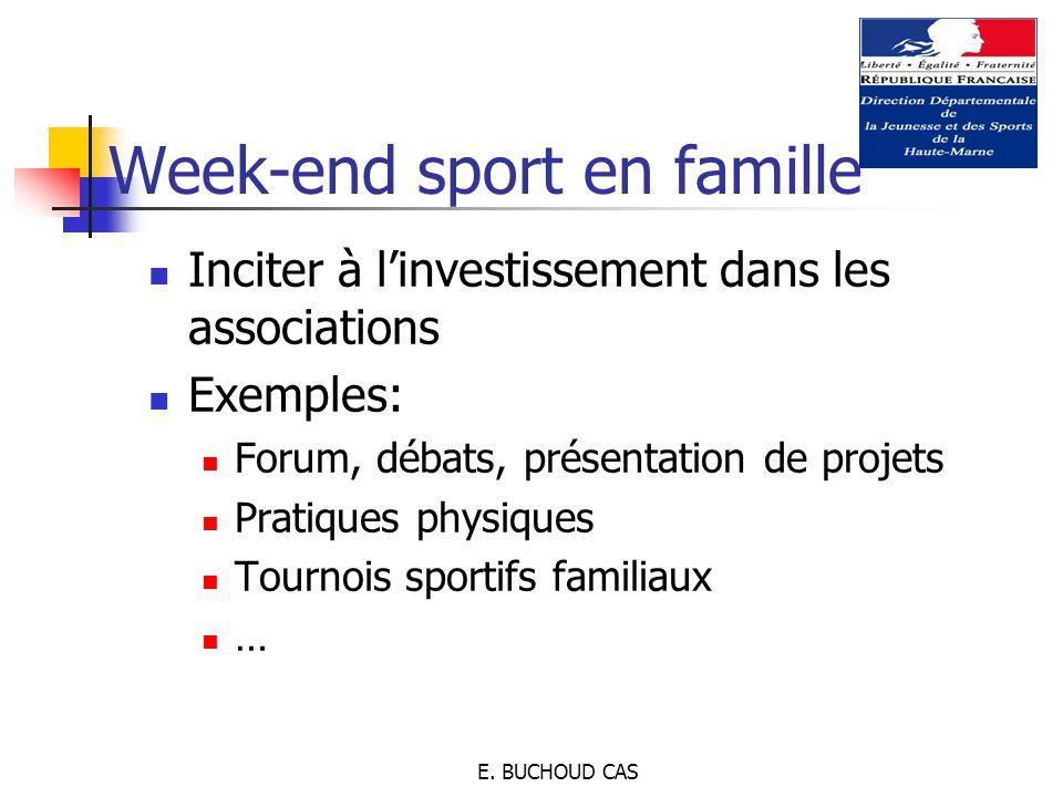 E. BUCHOUD CAS Inciter à l'investissement dans les associations Exemples: Forum, débats, présentation de projets Pratiques physiques Tournois sportifs