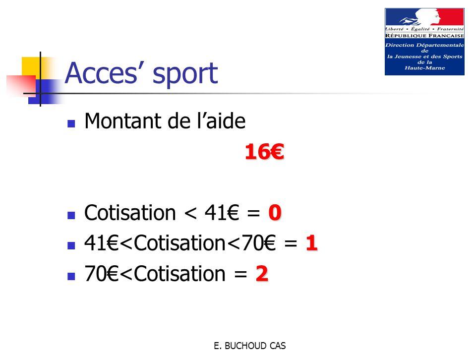 E. BUCHOUD CAS Montant de l'aide16€ 0 Cotisation < 41€ = 0 1 41€<Cotisation<70€ = 1 2 70€<Cotisation = 2 Acces' sport