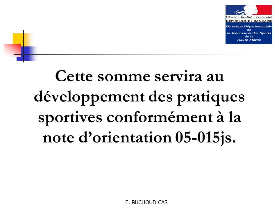 E. BUCHOUD CAS Cette somme servira au développement des pratiques sportives conformément à la note d'orientation 05-015js.