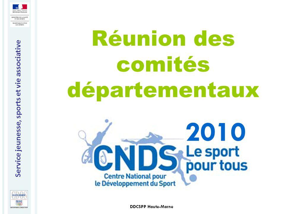 Service jeunesse, sports et vie associative DDCSPP Haute-Marne 2010 Réunion des comités départementaux