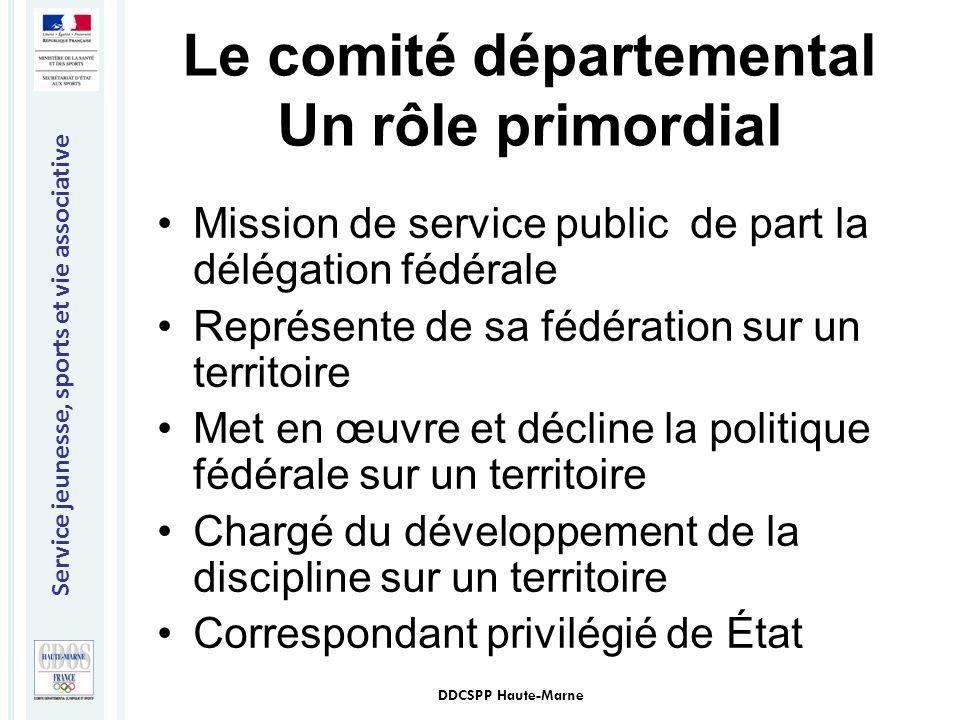 Service jeunesse, sports et vie associative DDCSPP Haute-Marne Le comité départemental Un rôle primordial Mission de service public de part la délégat
