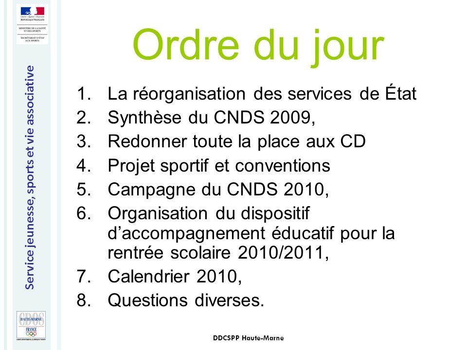 Service jeunesse, sports et vie associative DDCSPP Haute-Marne Ordre du jour 1.La réorganisation des services de État 2.Synthèse du CNDS 2009, 3.Redon