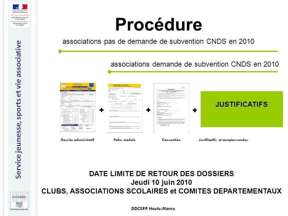 Service jeunesse, sports et vie associative DDCSPP Haute-Marne Procédure Dossier administratifConventionFiche module JUSTIFICATIFS Justificatifs et co