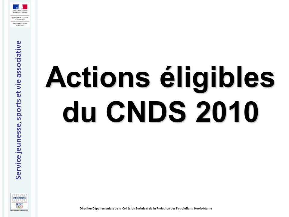Service jeunesse, sports et vie associative Direction Départementale de la Cohésion Sociale et de la Protection des Populations Haute-Marne Actions éligibles du CNDS 2010
