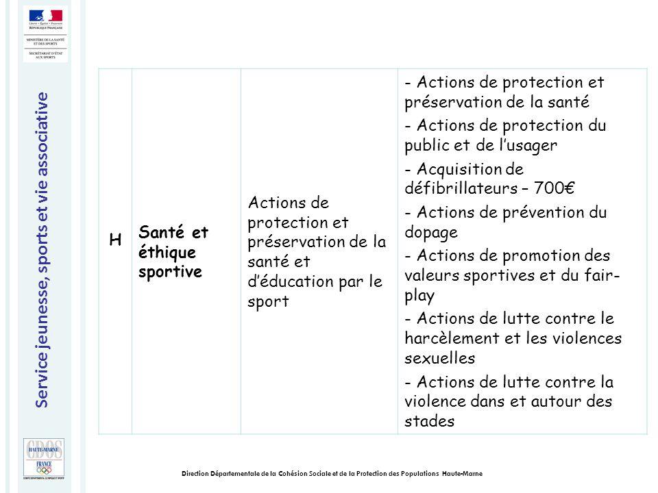 Service jeunesse, sports et vie associative Direction Départementale de la Cohésion Sociale et de la Protection des Populations Haute-Marne H Santé et éthique sportive Actions de protection et préservation de la santé et d'éducation par le sport - Actions de protection et préservation de la santé - Actions de protection du public et de l'usager - Acquisition de défibrillateurs – 700€ - Actions de prévention du dopage - Actions de promotion des valeurs sportives et du fair- play - Actions de lutte contre le harcèlement et les violences sexuelles - Actions de lutte contre la violence dans et autour des stades