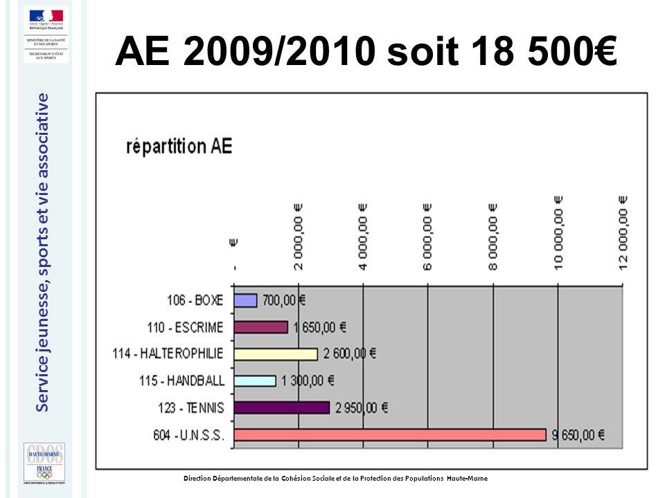Service jeunesse, sports et vie associative Direction Départementale de la Cohésion Sociale et de la Protection des Populations Haute-Marne AE 2009/2010 soit 18 500€