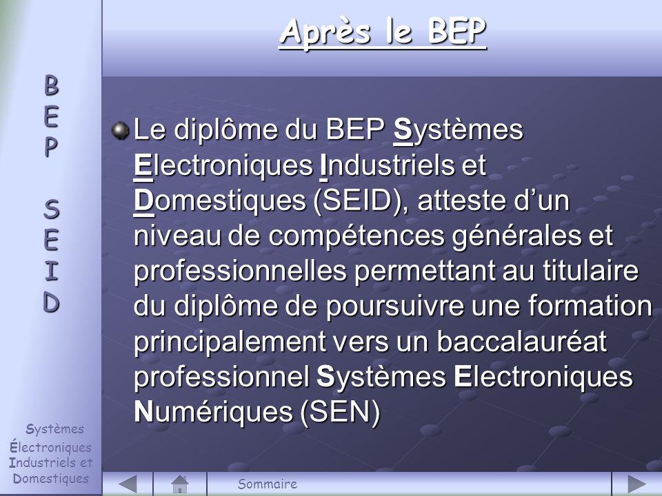 Le diplôme du BEP Systèmes Electroniques Industriels et Domestiques (SEID), atteste d'un niveau de compétences générales et professionnelles permettant au titulaire du diplôme de poursuivre une formation principalement vers un baccalauréat professionnel Systèmes Electroniques Numériques (SEN) B E P S E I D B E P S E I D Systèmes Électroniques Industriels et Domestiques Après le BEP Sommaire