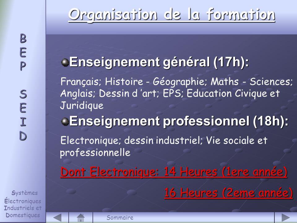Fin B E P S E I D B E P S E I D Systèmes Électroniques Industriels et Domestiques Sommaire