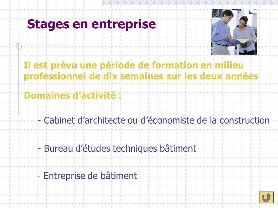Stages en entreprise Il est prévu une période de formation en milieu professionnel de dix semaines sur les deux années - Cabinet d'architecte ou d'éco