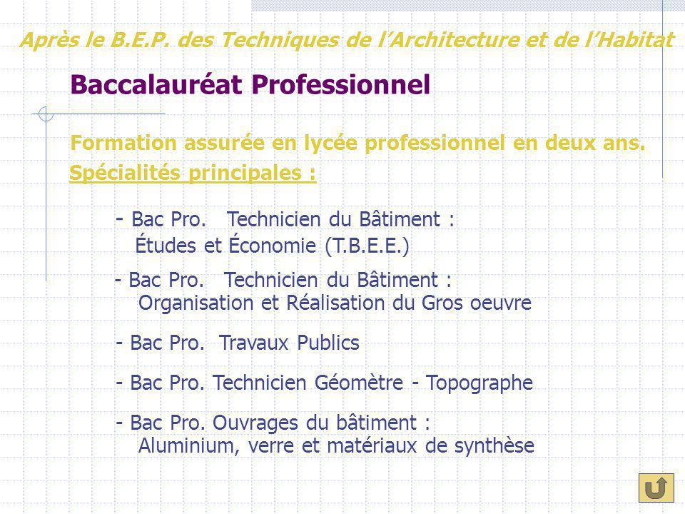 Baccalauréat Professionnel Formation assurée en lycée professionnel en deux ans. Spécialités principales : - Bac Pro. Technicien du Bâtiment : - Bac P