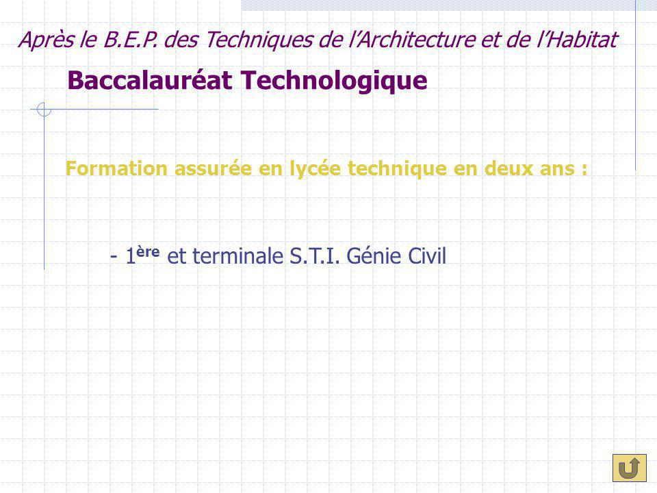 Baccalauréat Technologique Formation assurée en lycée technique en deux ans : Après le B.E.P. des Techniques de l'Architecture et de l'Habitat - 1 ère