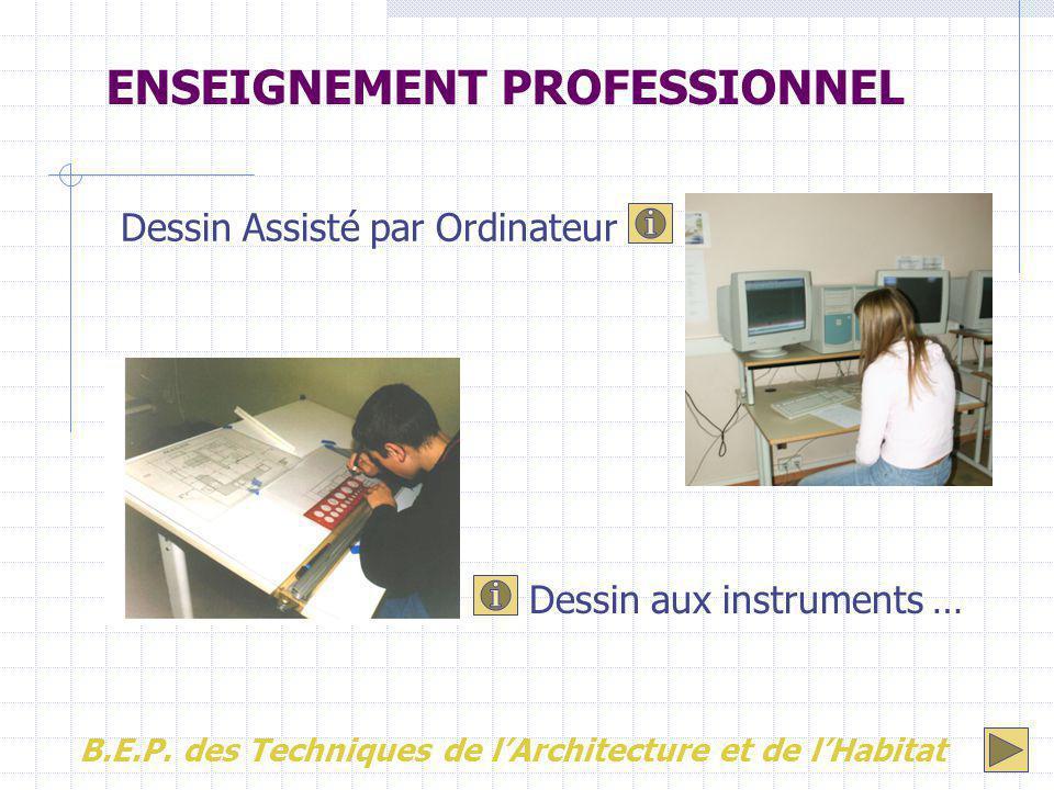 Dessin Assisté par Ordinateur Dessin aux instruments … ENSEIGNEMENT PROFESSIONNEL B.E.P. des Techniques de l'Architecture et de l'Habitat