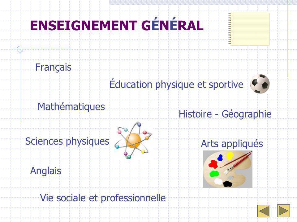 ENSEIGNEMENT GÉNÉRAL Français Mathématiques Sciences physiques Anglais Histoire - Géographie Vie sociale et professionnelle Éducation physique et spor