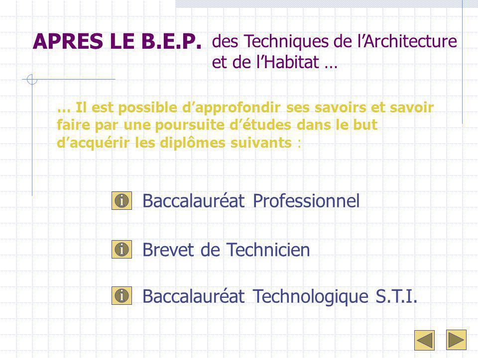 APRES LE B.E.P. des Techniques de l'Architecture et de l'Habitat … … Il est possible d'approfondir ses savoirs et savoir faire par une poursuite d'étu