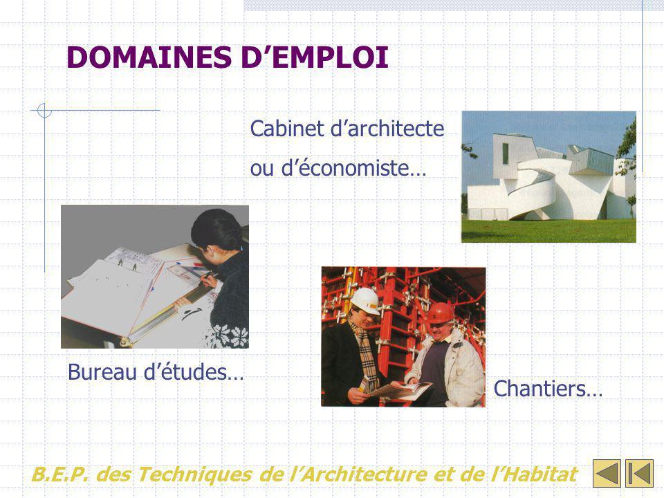 DOMAINES D'EMPLOI Cabinet d'architecte ou d'économiste… Bureau d'études… Chantiers… B.E.P. des Techniques de l'Architecture et de l'Habitat