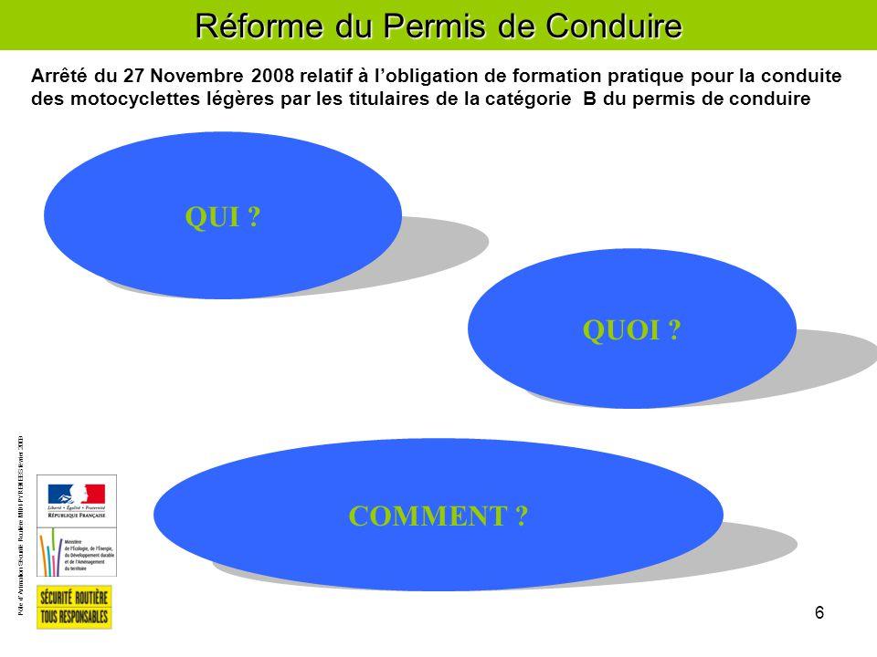 Pôle d'Animation Sécurité Routière MIDI-PYRENEES février 2009 6 Réforme du Permis de Conduire COMMENT .