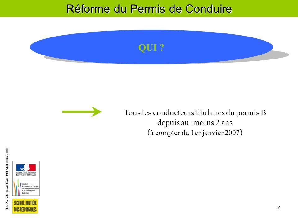 Pôle d'Animation Sécurité Routière MIDI-PYRENEES février 2009 7 Réforme du Permis de Conduire QUI .