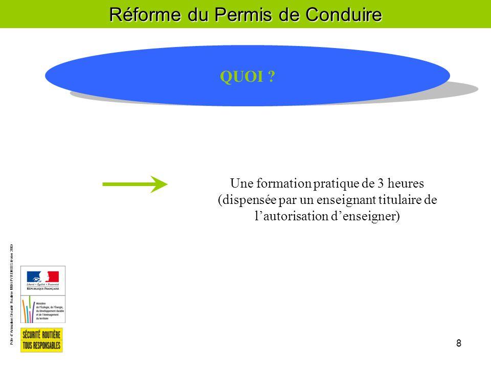 Pôle d'Animation Sécurité Routière MIDI-PYRENEES février 2009 8 Réforme du Permis de Conduire QUOI .