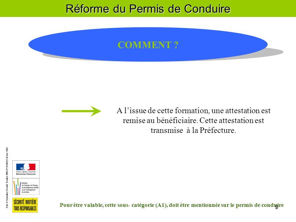 Pôle d'Animation Sécurité Routière MIDI-PYRENEES février 2009 9 Réforme du Permis de Conduire COMMENT .