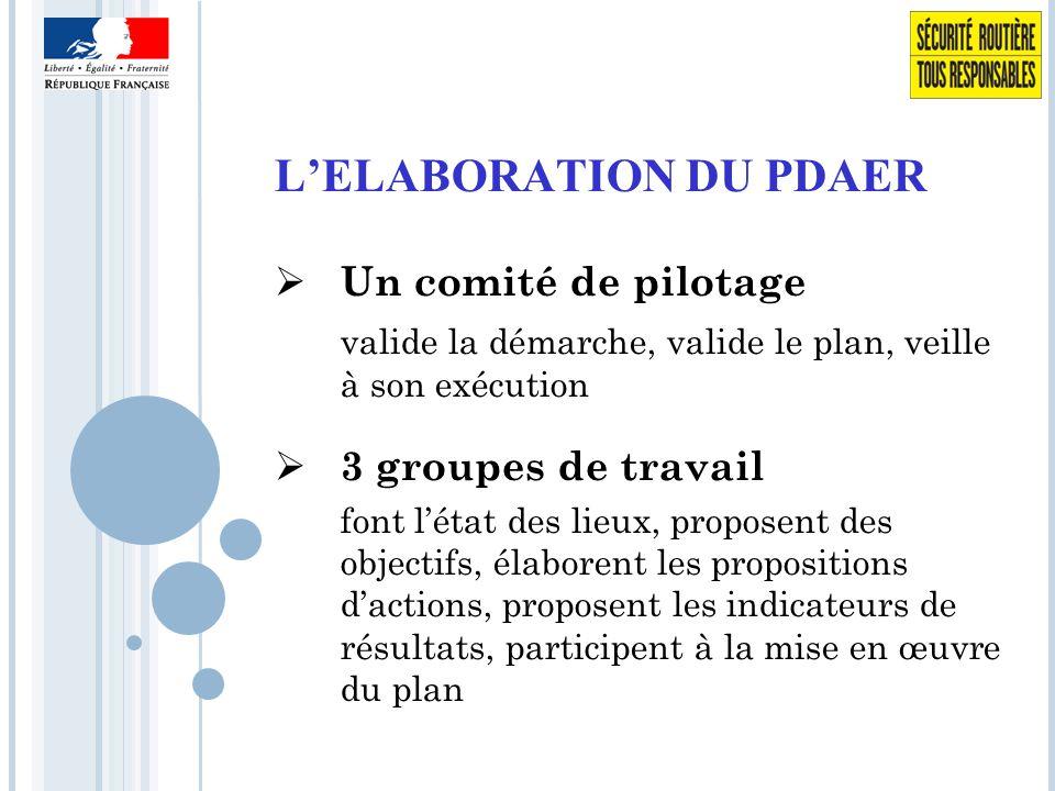 L'ELABORATION DU PDAER  Un comité de pilotage valide la démarche, valide le plan, veille à son exécution  3 groupes de travail font l'état des lieux, proposent des objectifs, élaborent les propositions d'actions, proposent les indicateurs de résultats, participent à la mise en œuvre du plan
