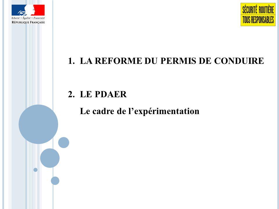 1.LA REFORME DU PERMIS DE CONDUIRE 2.LE PDAER Le cadre de l'expérimentation