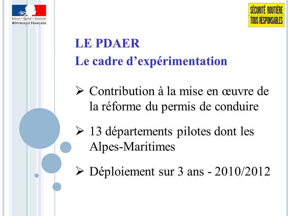 LE PDAER Le cadre d'expérimentation  Contribution à la mise en œuvre de la réforme du permis de conduire  13 départements pilotes dont les Alpes-Maritimes  Déploiement sur 3 ans - 2010/2012