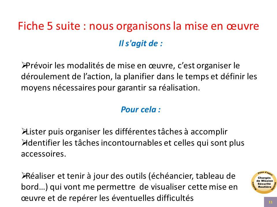 Fiche 5 suite : nous organisons la mise en œuvre Il s'agit de :  Prévoir les modalités de mise en œuvre, c'est organiser le déroulement de l'action,