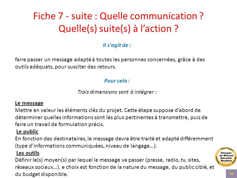 Fiche 7 - suite : Quelle communication ? Quelle(s) suite(s) à l'action ? Il s'agit de : faire passer un message adapté à toutes les personnes concerné