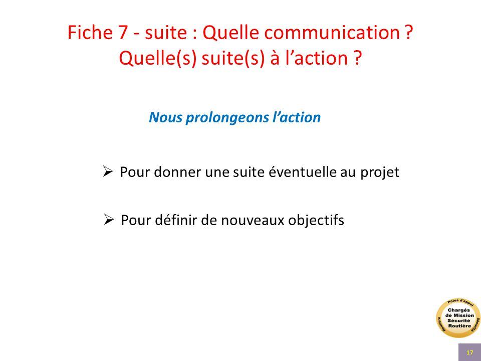 Fiche 7 - suite : Quelle communication ? Quelle(s) suite(s) à l'action ? Nous prolongeons l'action  Pour donner une suite éventuelle au projet  Pour