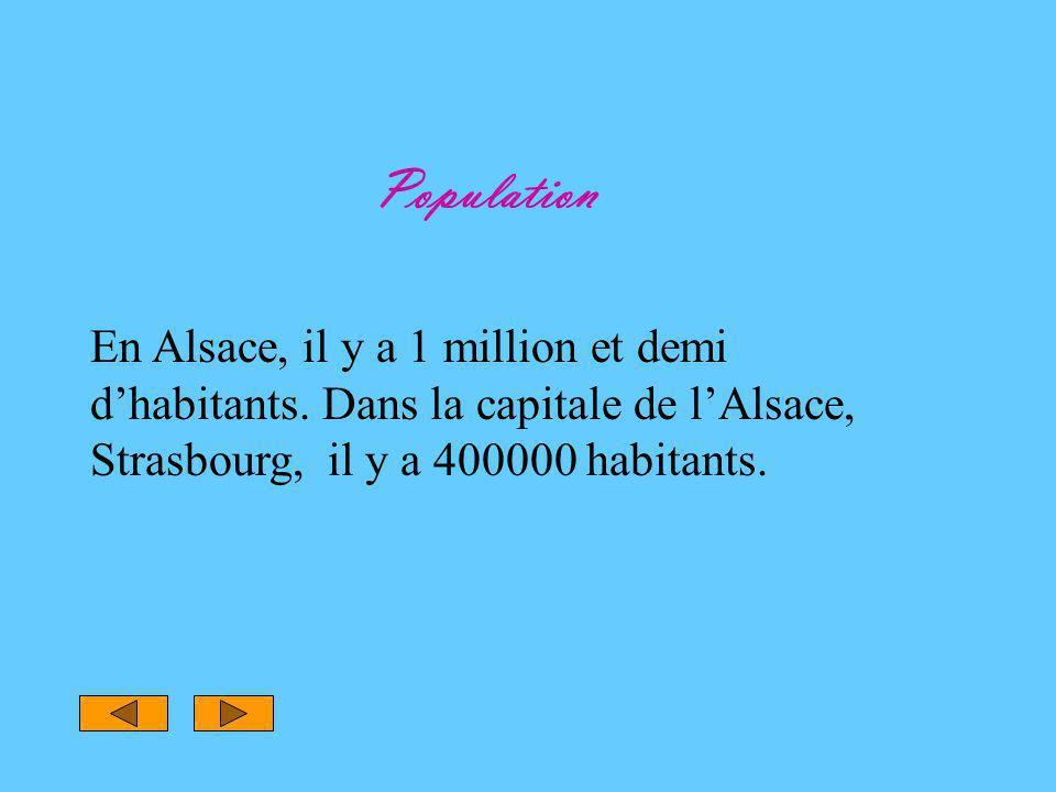 Population En Alsace, il y a 1 million et demi d'habitants. Dans la capitale de l'Alsace, Strasbourg, il y a 400000 habitants.
