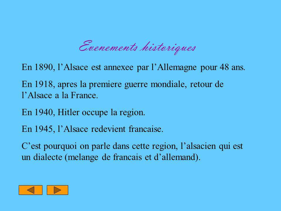 Evenements historiques En 1890, l'Alsace est annexee par l'Allemagne pour 48 ans.