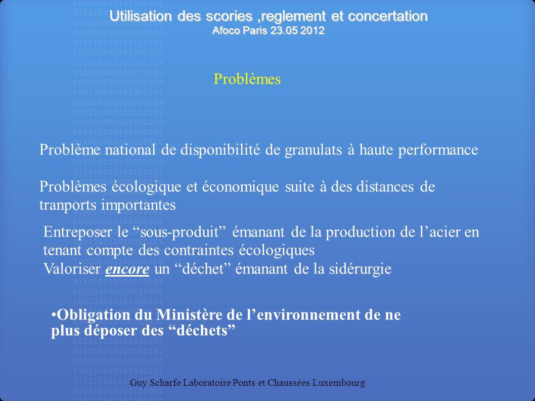 Utilisation des scories,reglement et concertation Afoco Paris 23.05 2012 Guy Scharfe Laboratoire Ponts et Chaussées Luxembourg Problème national de di