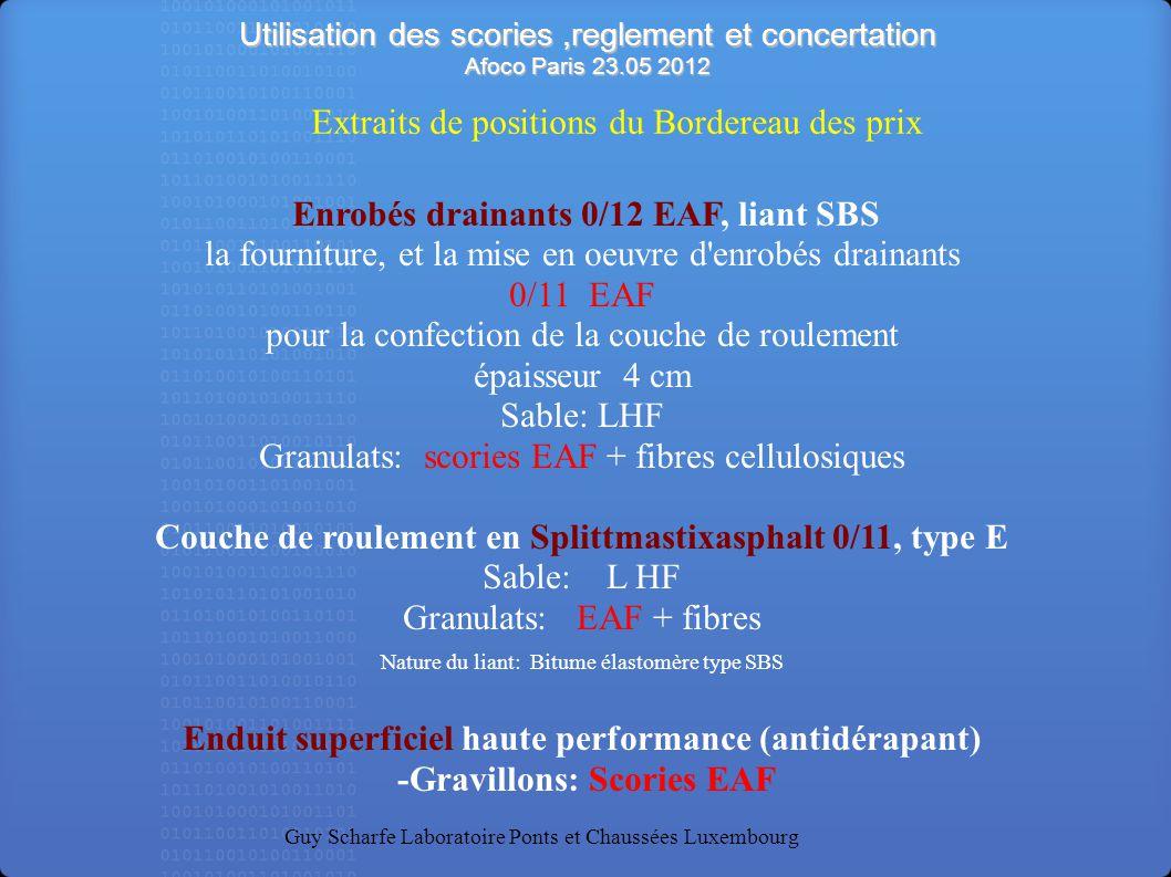 Utilisation des scories,reglement et concertation Afoco Paris 23.05 2012 Guy Scharfe Laboratoire Ponts et Chaussées Luxembourg Enrobés drainants 0/12