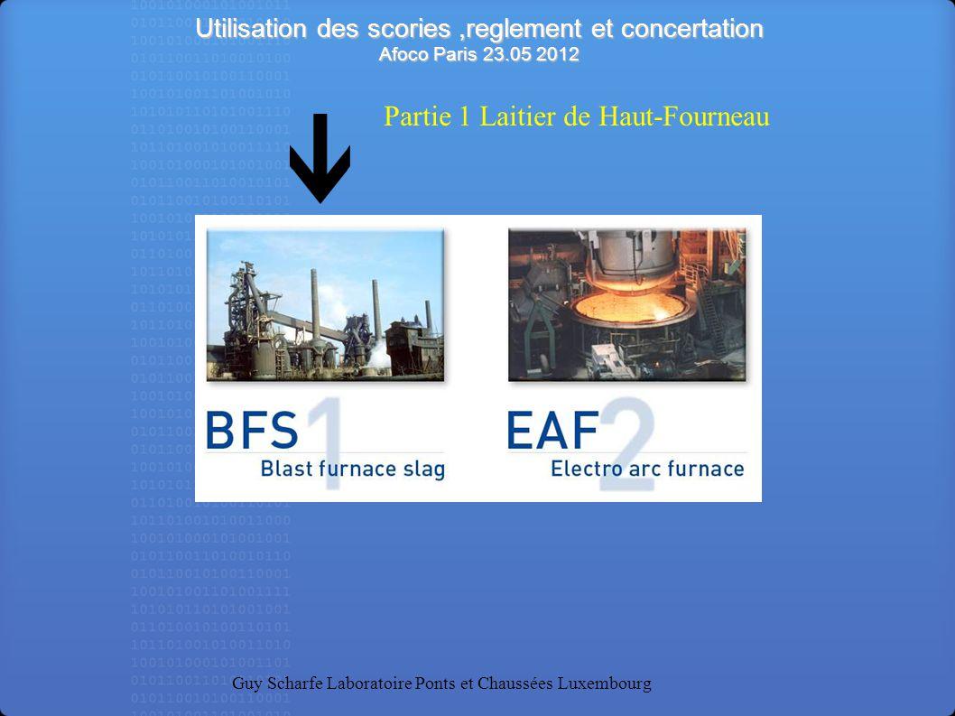 Utilisation des scories,reglement et concertation Afoco Paris 23.05 2012 Guy Scharfe Laboratoire Ponts et Chaussées Luxembourg Partie 1 Laitier de Hau