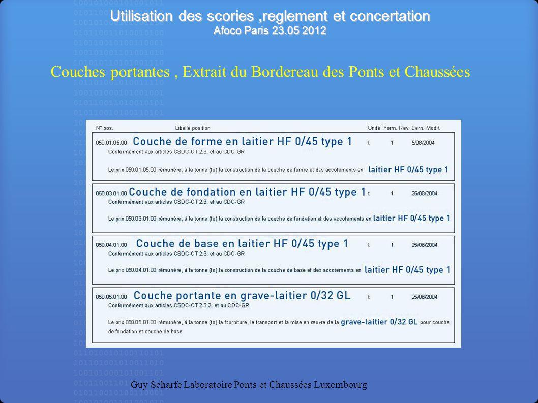 Utilisation des scories,reglement et concertation Afoco Paris 23.05 2012 Guy Scharfe Laboratoire Ponts et Chaussées Luxembourg Le prix rémunère à la tonne (to) la fourniture et la mise en oeuvre d enrobés denses 0/12 (EF 2) concassés HF pour la confection de la couche de roulement Couche de roulement en Splittmastixasphalt 0/8, type C Sable + Granulats: LHF Couche de roulement en Splittmastixasphalt 0/12, type E Sable: HF Granulats: EAF + fibres Nature du liant: Bitume élastomère type SBS Enrobés, Extrait du Bordereau des Ponts et Chaussées