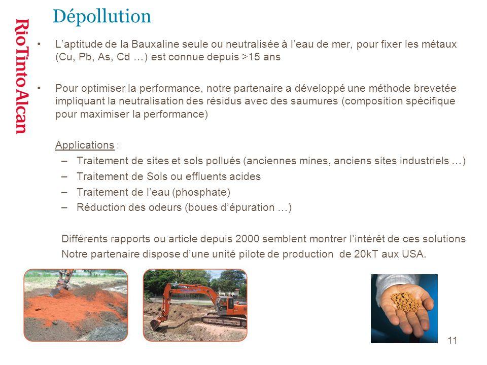 11 Dépollution L'aptitude de la Bauxaline seule ou neutralisée à l'eau de mer, pour fixer les métaux (Cu, Pb, As, Cd …) est connue depuis >15 ans Pour